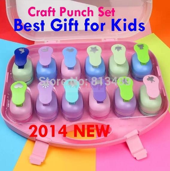 12pcs craft paper punch set best gifts kids shaper cutter for Craft hole punch set