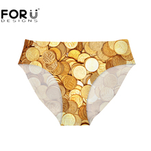18cd9a2870 FORUDESIGNS Cotton Women s Briefs Sexy Mid-rise Panties Gold Coin Printed Seamless  Panties Ladies Briefs