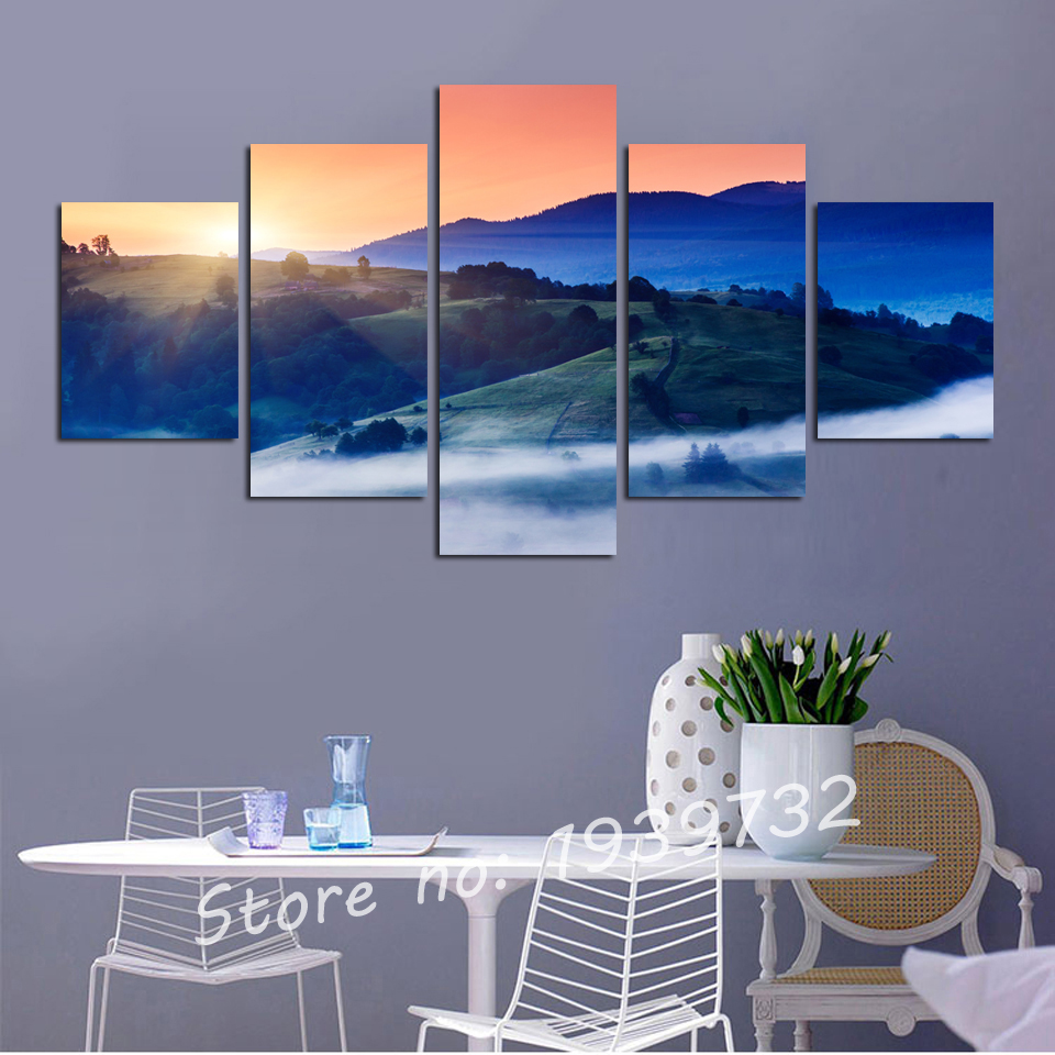 5 Pieces Blue Mountain Cloud And Mist Ink Painting In