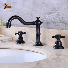 ZGRK Basin Faucet Set 3 hole Black Brass Double Handle Bathroom Sink Faucet Hot Cold Tap 3 Pcs Mixer Tap
