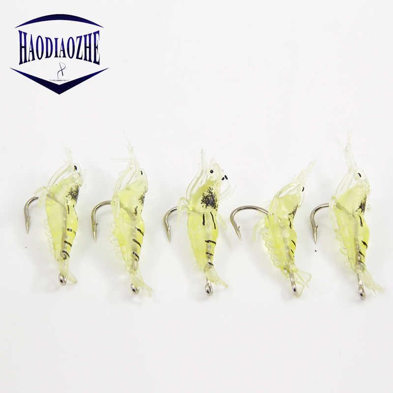 Мягкая силиконовая имитирующая креветки-наживки для рыбалки креветка искусственная приманка с поворотным желтым рыбистым запахом один крючок 3,5 см 1,5 г