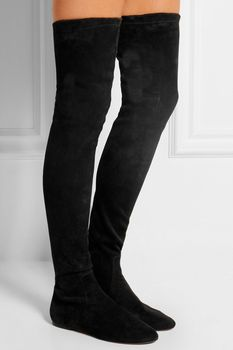 Women Thigh High Over Knee High Boots Suede Black Gray Fashion Ladies Runway Knight Boots Female Dress Long Boots Sapatos