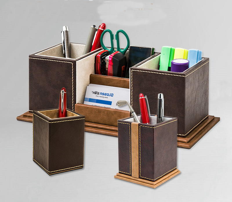 High-grade Wooden Leather Pen Holder Cute Pencil Case Tv Remote Control Makeup Stationery Organizer Desktop Organizer Set 1095