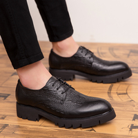 British fashion men's breathable party nightclub dresses soft leather bullock shoes carved brogue oxford shoe lace up platform
