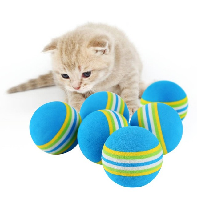 10 PCS Cat Toy Ball Interactive Cat Toys Play Chewing Rattle Scratch ...