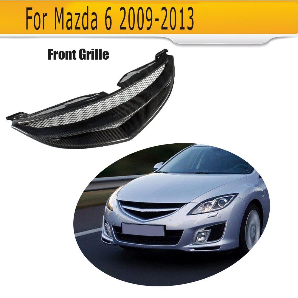 Carbon Fiber Car Grills Front Bumper Grill Grille For Mazda 6 Sedan 4 Door Only 2009 - 2013 GS GT I S Grey FRP
