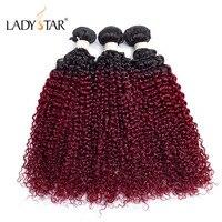 LADYSTAR Peruvian Kinky Curly Wave 3/4 Bundles 10 26 Inch T1B 99J Color 100% Remy Human Hair Bundles