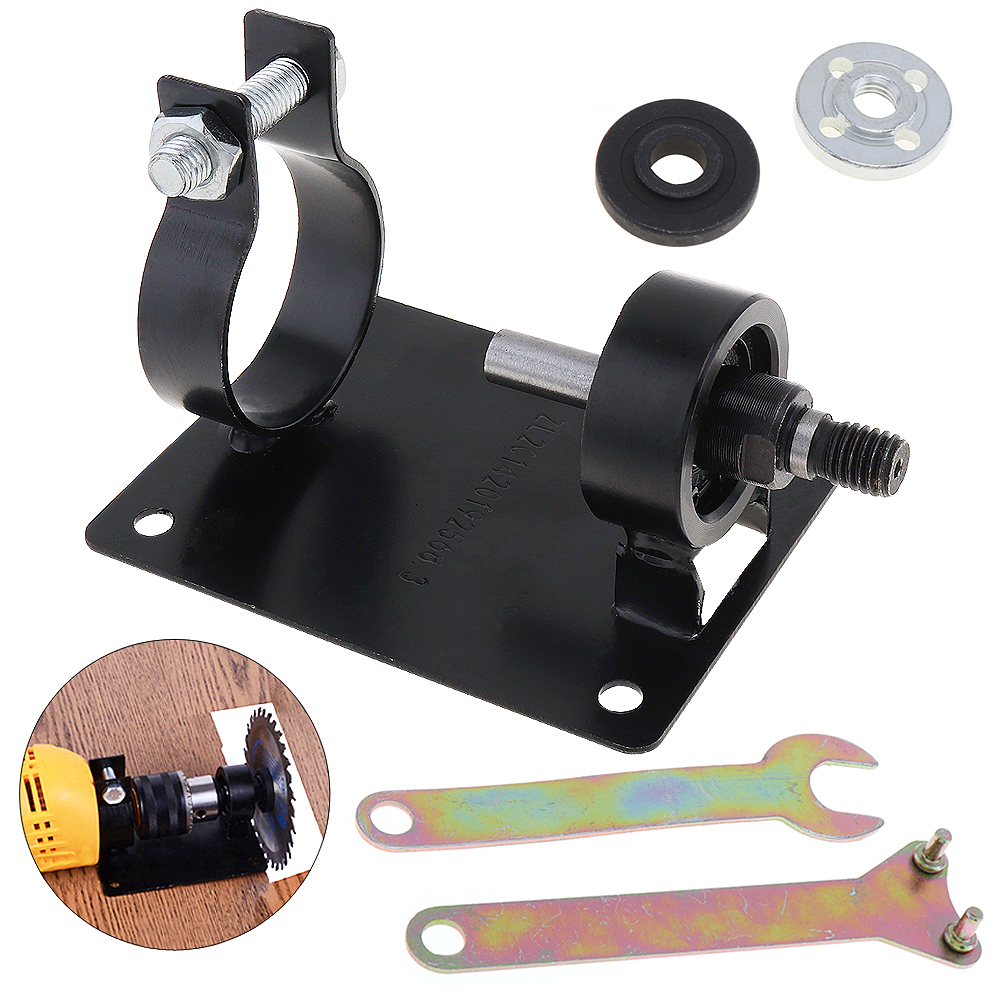 10mm Electric Drill Cutting Seat Stand Holder Set Drilling Machine Bracket Table with 2 Wrenchs 2 Gaskets for Polishing Grinding hoomall electric drill cutting seat stand machine bracket tools set fit for angle grinder accessories polishing cutting 10 13mm