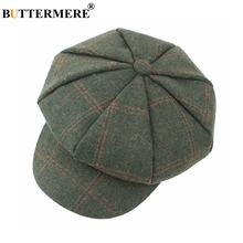 BUTTERMERE Women Wool Tweed Caps Newsboy Female Male Vintage Army Green Plaid Flat Spring Painters Cabbie Duckbill Hat 2019