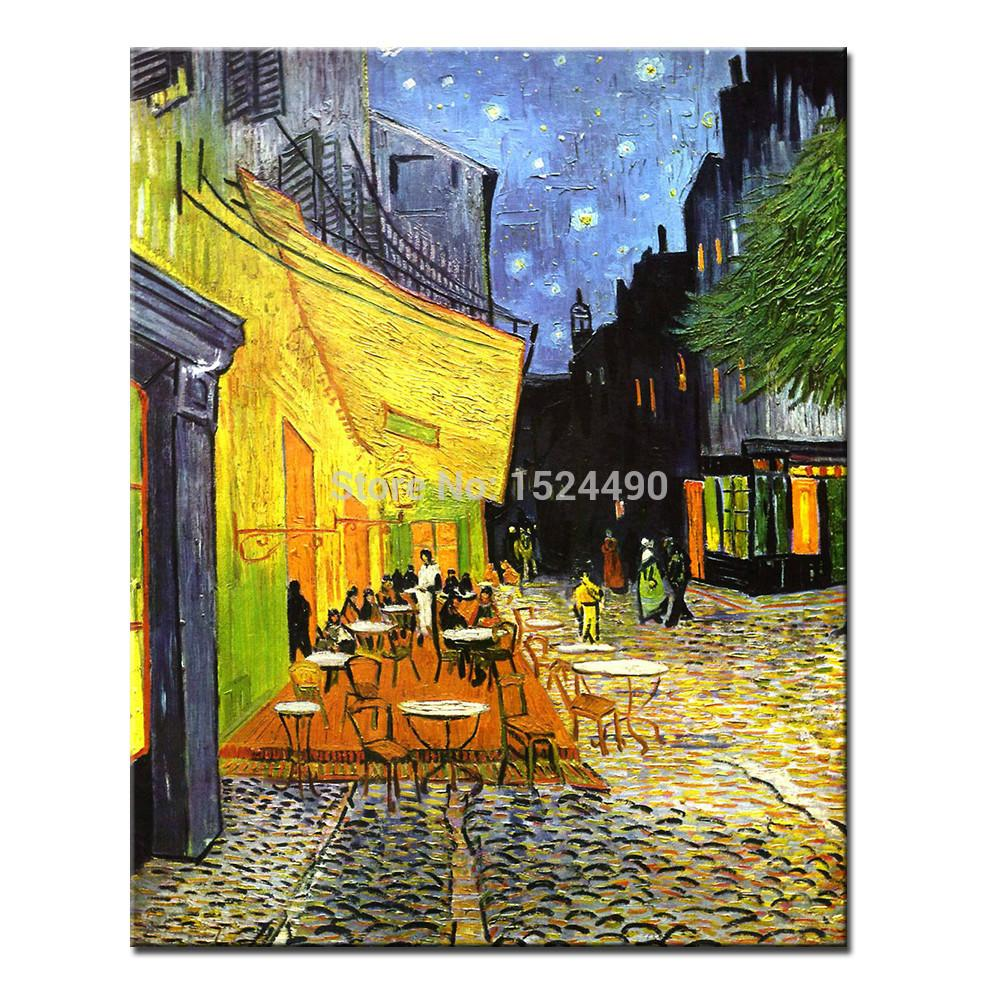 Vincent Van Gogh Of Cafe Terrace At Night Art Poster Giclee Hand Painted Canvas Oil Painting