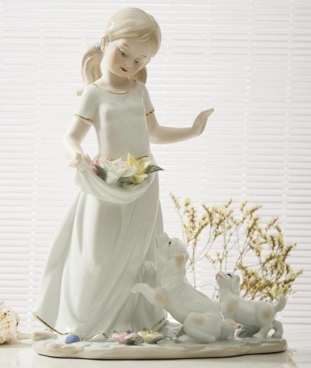 Rustic Ceramic Little Girl Figurine Porcelain Child Sculpture Puppies Miniature Birthday Gift Craft Room Decor Children