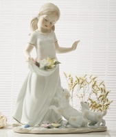 Rustic Ceramic Little Girl Figurine Porcelain Child Sculpture Puppies Miniature Birthday Gift Craft Room Decor Children's Day