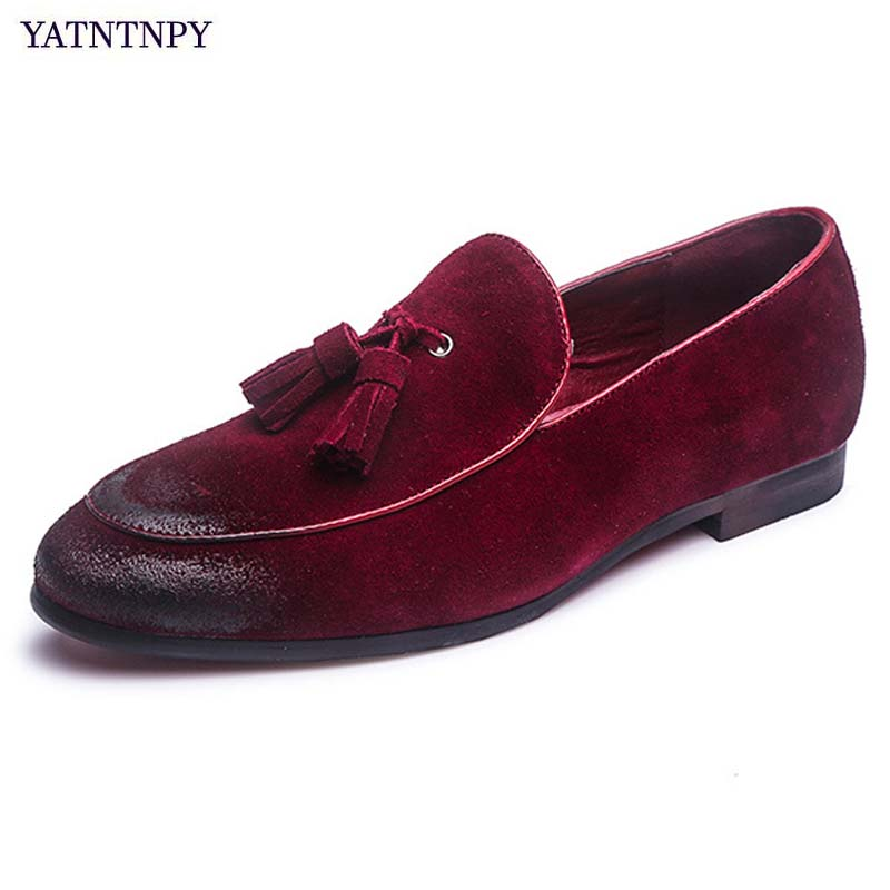 YATNTNPY New brand men shoes genuine suede Leather shoes for man, fashion slip-on loafers spadrilles flat  driving moccasins 2016 new fashion autumn real genuine leather formal brand man loafers men s casual croco printed slip on flat shoes glm242