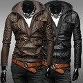 Бесплатная Доставка Мужчины С Капюшоном Кожаное Пальто Больше Карманы Мотоцикл Кожаные Куртки