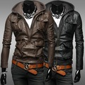 Free Shipping Men Hooded Leather Coat More Pockets  Motorcycle Leather Jackets