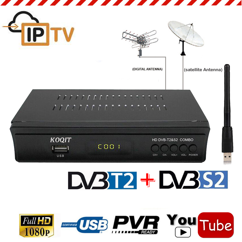 FTA Full HD DVB-T2 Terrestrial + DVB-S2 Satellite Receiver Combo Decoder + USB Wifi IKS Cccam Youtube Biss Vu IPTV Set Top Box