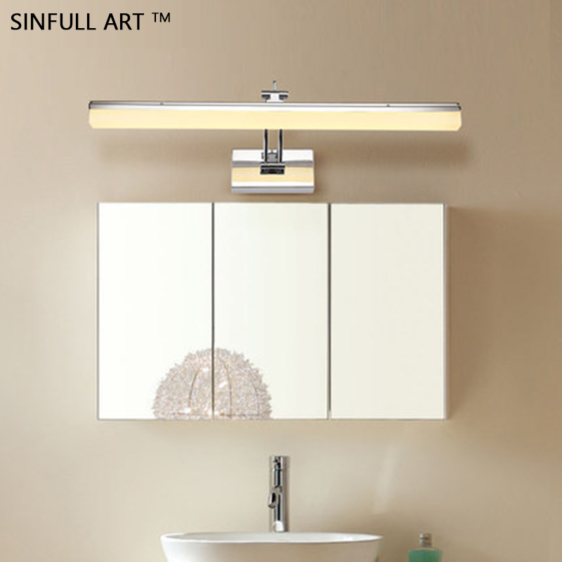 SINFULL led bathroom light LED mirror lights cabinet makeup wall lamp simple dressing sconce indoor lighting products fixtures modern led bathroom light stainless steel led mirror lamp dresser cabinet waterproof sconce indoor home wall lighting fixtures