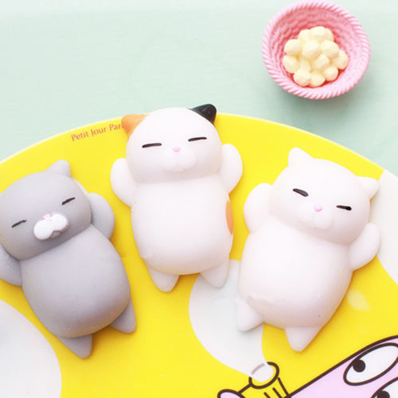 4PCS Set Cute Mochi Squishy Cat Squeeze Healing Fun Kids Kawaii Toy Stress Reliever Decor car house show window cafe Toys