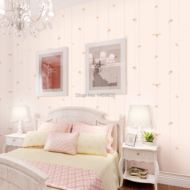 bedroom wallpaper pink beautiful flower garden streak non woven 10755