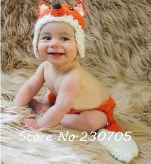 Niedlich Unisex Säugling Baby Fuchs Hut Kostüm Tiere Kostüm Häkeln Hut Mütze Hose Neugeborenen Fotografie Foto Requisiten Versandkostenfrei