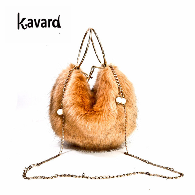 Top Handle Women Bags Fashion S Faux Fur Handbags Black Bag Ball