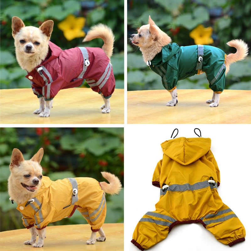 Puppy Pet Dog Cool Raincoat Glisten Bar Hoody Waterproof Rain Lovely Jackets Coat Apparel Clothes