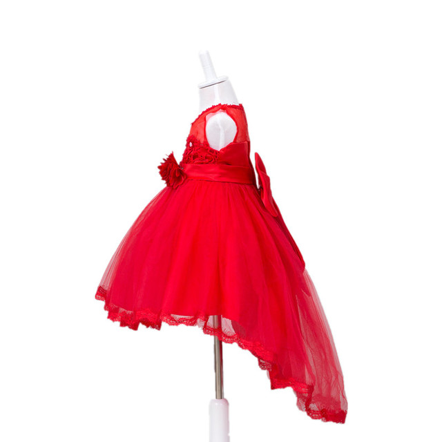 2017 New Bowknot Girls Dresses long tail Children Wedding Princess Sleeveless Top quality Kid Party Dress 3 colors girls clothes