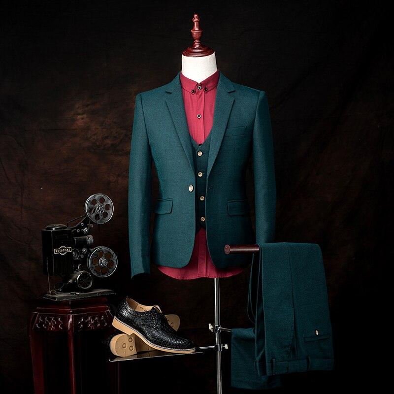 Fashion Custom Men suits jacket + pants + vest slim men's prom party blazer trousers groom wedding dress professional dress