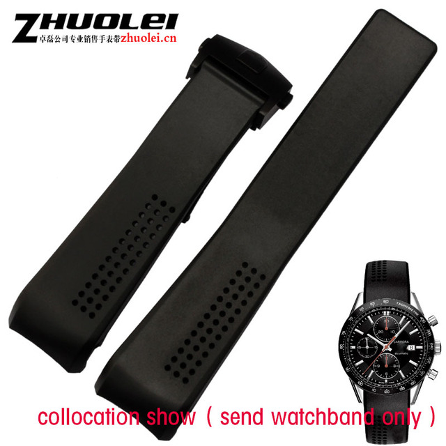 classic luxury rubber watchband with stainless steel deployment buckle for men C