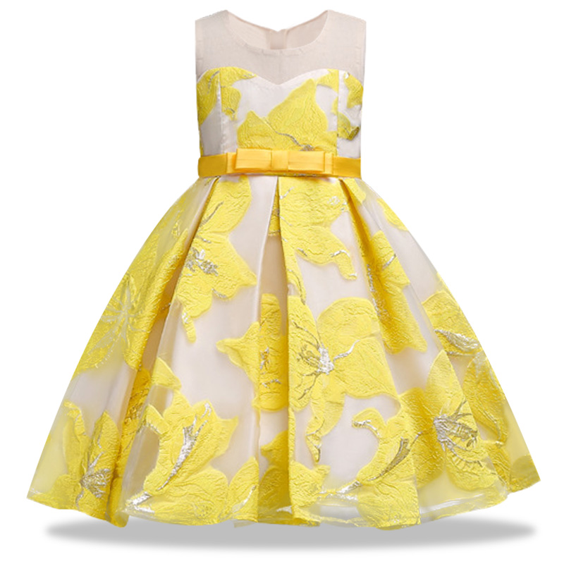 Summer girl stereo formal dress High quality hot stamping Elegant flower bow princess dress Children's piano performance dress plus size bow piano music note dress