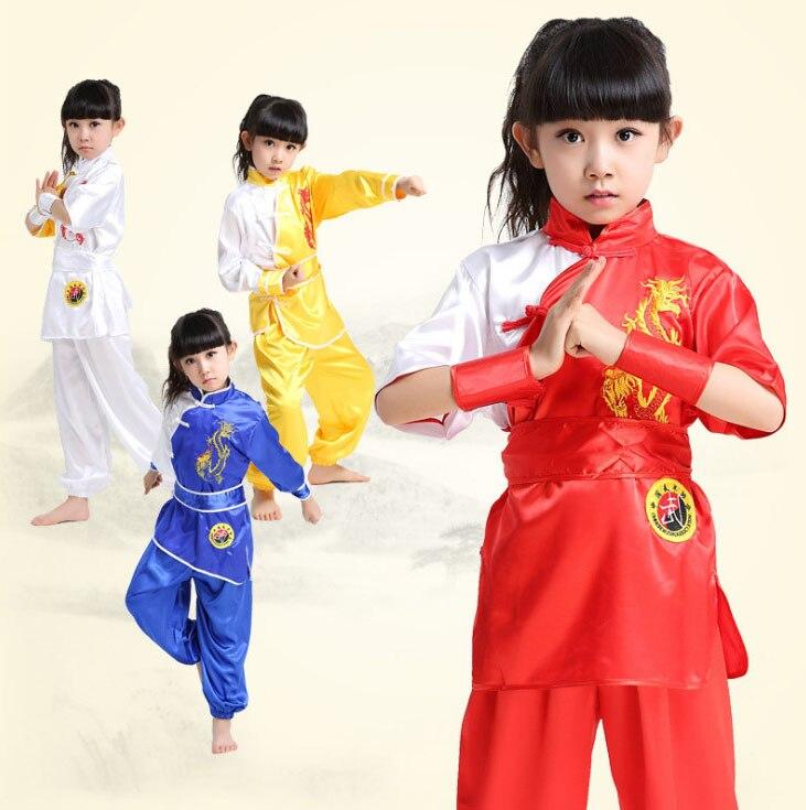 Girls Boys Chinese Folk Taichi Shaolin Kungfu Uniform Clothing Performance Dance Costume Clothes Dancing Outfits Shirt Top pants