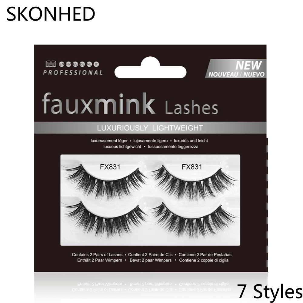 a7103ce04f2 ... 2 Pairs Faux Mink Hair False Eyelashes Natural Long Handmade Lashes  Wispy Fluffy Crulety-free ...