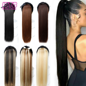 "WTB 22"" Long Straight Ponytails for Women Heat Resistant Synthetic Drawstring Fake Hair Pony Tail Extensions(China)"
