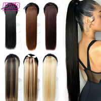 WTB 22 Long Straight Ponytails for Women Heat Resistant Synthetic Drawstring Fake Hair Pony Tail Extensions