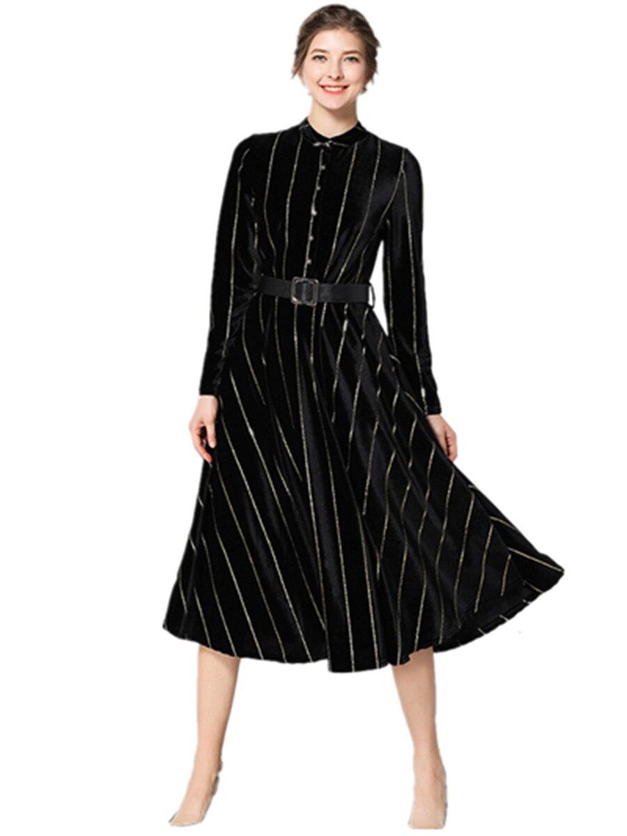 Femmes piste manches longues ceintures Swing longue robe 2019 printemps automne femmes velours simple grande taille robes longues XXL