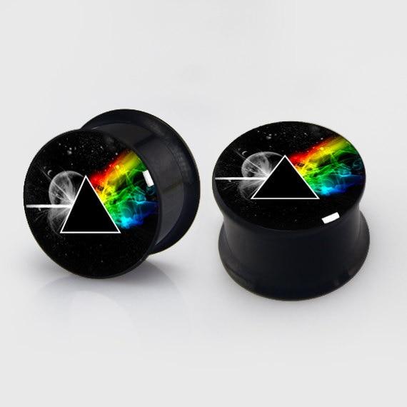 2 pieces Triangle rainbow plugs anodized black ear plug gauges steel flesh tunnel earlets body piercing jewelry 1 pair