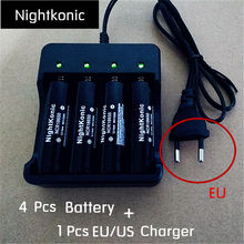 Nightkonic  1 PCS (EU/US) 2/4 slot Charger  + 4 PCS 18650  Battery  3.7V Li-ion Rechargeable Battery BLACK Flat top