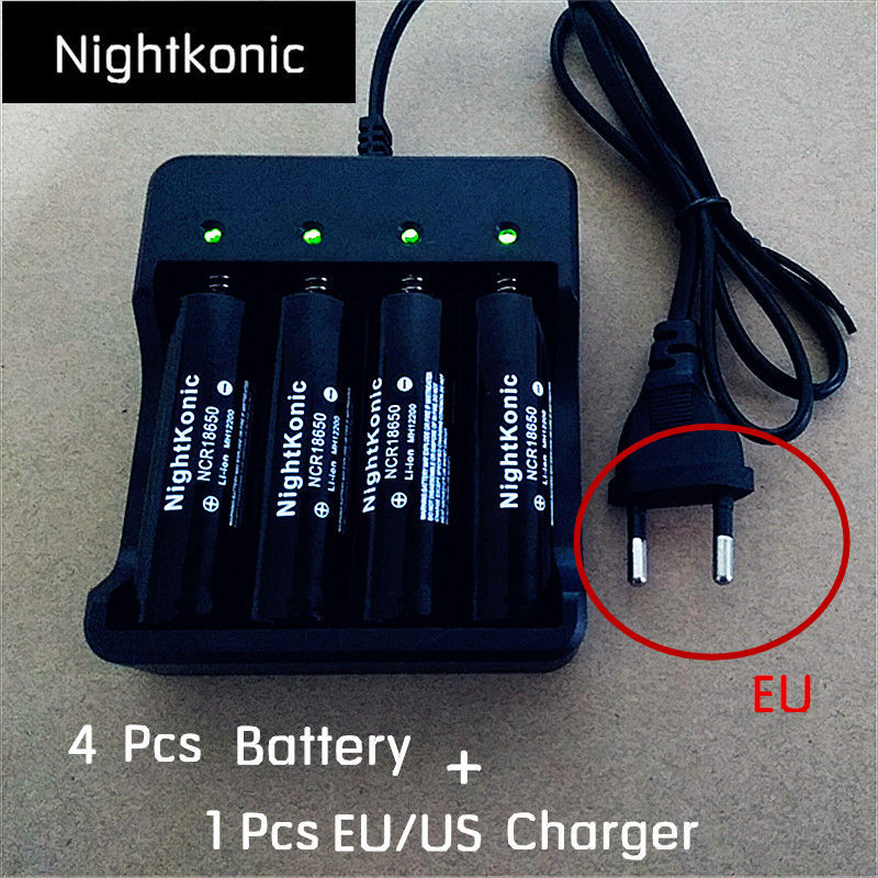 Original Nightkonic <font><b>4</b></font> <font><b>PCS</b></font> <font><b>18650</b></font> <font><b>Battery</b></font> 3.7V Li-ion Rechargeable <font><b>Battery</b></font> BLACK Flat top + 1 <font><b>PCS</b></font> (EU/US) 2/<font><b>4</b></font> slot Charger image