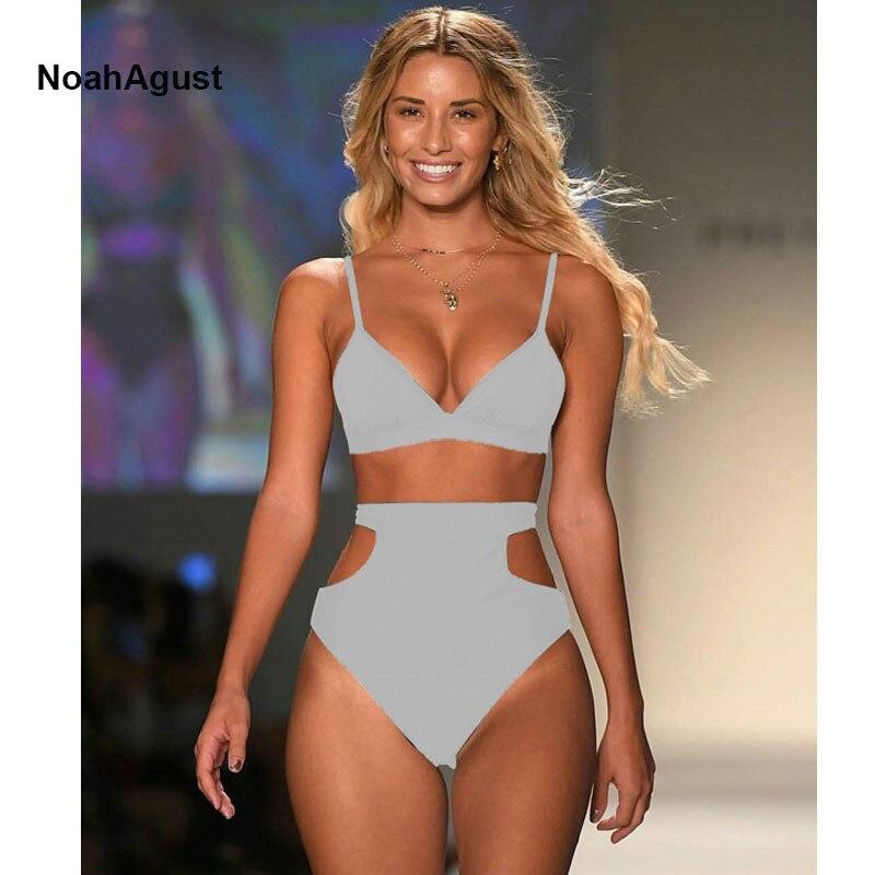 2018 High Cut Sexy Swimwear Women High Waist Bikini Set Push Up Bikini Beachwear Strappy Bandage Swimsuit Womens Swim Wear ...