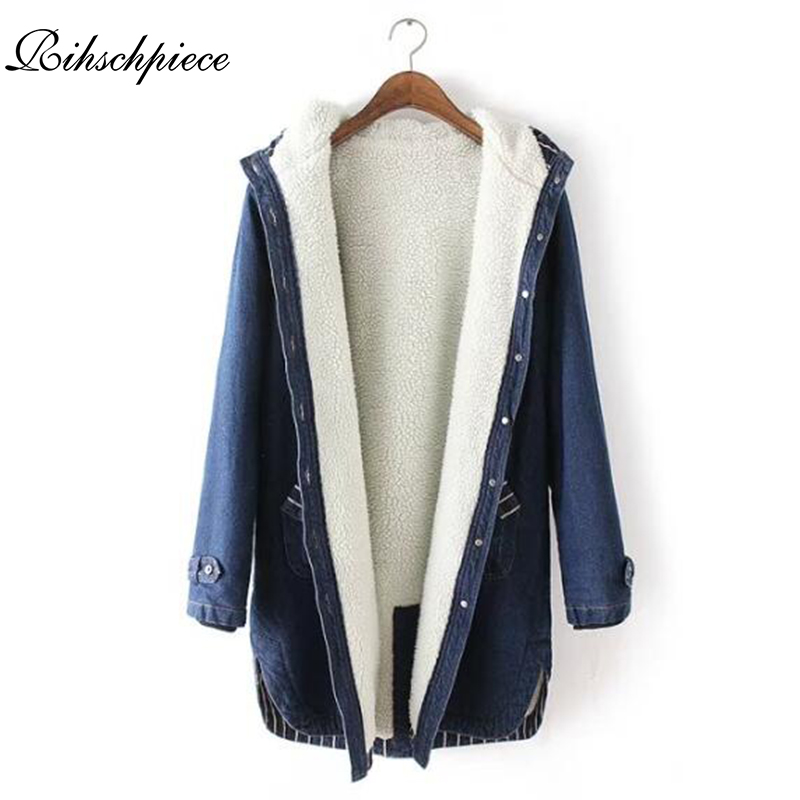 Rihschpiece 2018 Winter Velvet Denim Jacket Women Hoodies   Parka   Coat Long Jeans Jackets Vintage Casual Pocket Clothes RZF1321