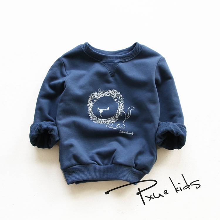 2016 New kids Hoodies child boys girls spring autumn cotton Cartoon lion sweater Long Sleeve Outwear baby clothes 2-7Y