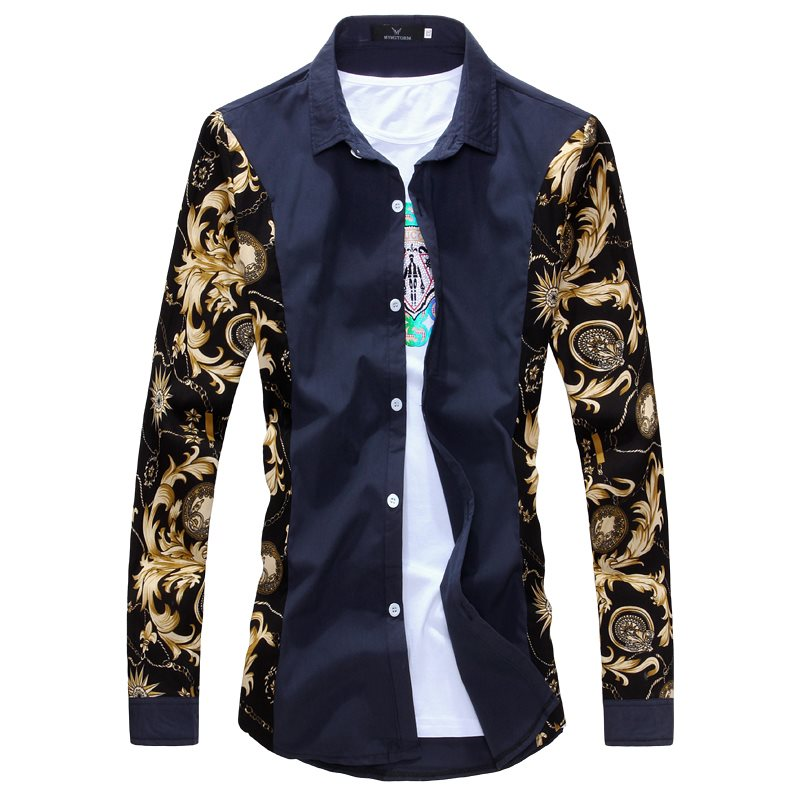 Male Shirts Black And Gold Dress Shirts Printed White Shirt Men Summer Outfits Slim Fit Men Clothes
