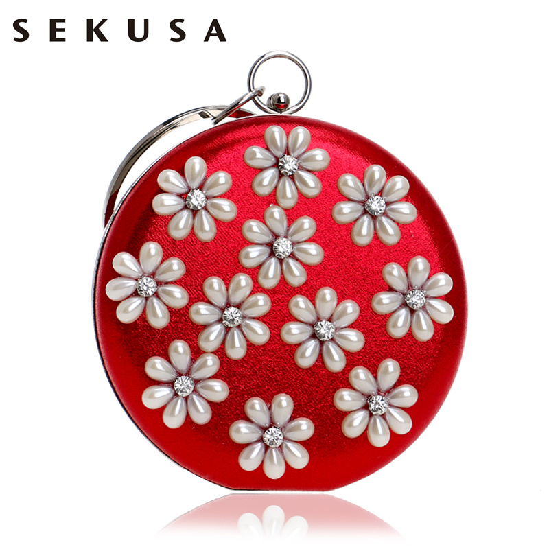 SEKUSA New Arrival Flower Beaded Women Clutch Diamonds Metal Circular Chain Shoulder Handbags Mixed Color Evening Bags игрушка аниме alter to love