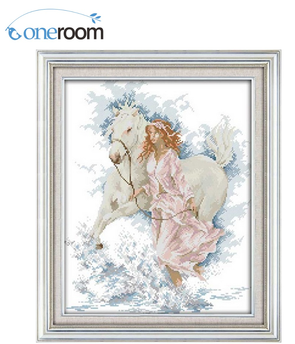 DIM The girl walk with her horse Counted Cross Stitch 11CT 14CT Cross Stitch Set Wholesale Cross-stitch Kit Embroidery