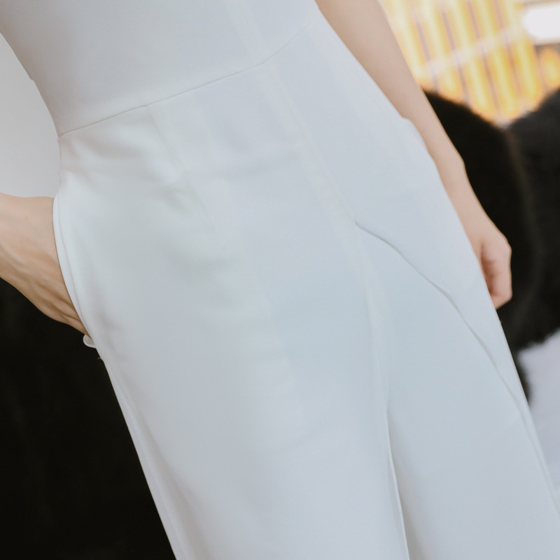 Droit 2018 Club Gaine Pour Barboteuses Pantalon Bretelles Party Bureau Blanc Combinaisons Manches Sans D'été Dame Salopette Femmes zrZzU