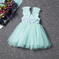Cute Kid Summer Dress For Girl Lace Flower Little Princess Baptism Dresses Children Clothing For Birthday Party Tulle Tutu Dress