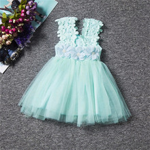 Cute Kid Summer Dress For Girl Lace Flower Little Princess Baptism Dresses Children Clothing For Birthday Party Tulle Tutu Dress(China)