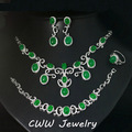 Luxury White Gold Plated Round Drop Vintage Green Jade Earrings Necklace And Bracelet Jewelry Sets For Women T202