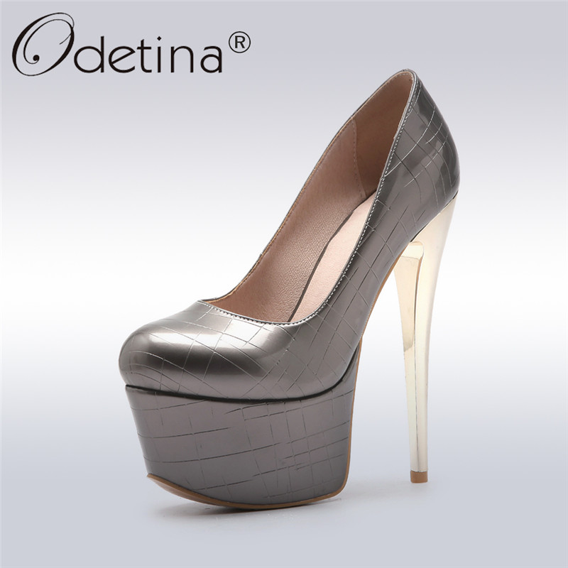 Odetina 2018 New Fashion Extreme High Heels Pumps For Women Stiletto Heel Patent Leather Sexy Party Shoes Platform Slip On Pumps fashion black patent leather high heels women sexy pointy stiletto high heel pumps trendy rivets slip on high heel party shoes
