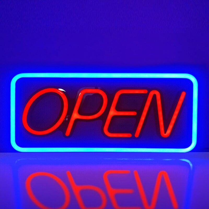 Tik Tok vente chaude haute luminosité plat résine LED néon signe ouvert bleu/vert rond Rectangle rouge ouvert pour l'affichage intérieur